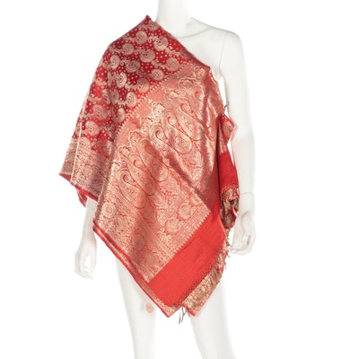 Metallic Gold Embroidered Red Saree