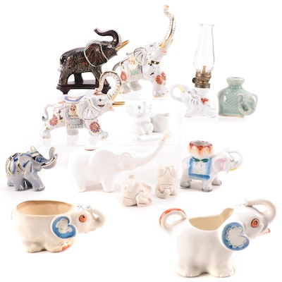 Ceramic Elephant Figurines and Other Figural Tableware, Mid to Late 20th Century