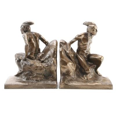 Kronheim & Oldenbusch Bronzed Cast Spelter Native American Bookends