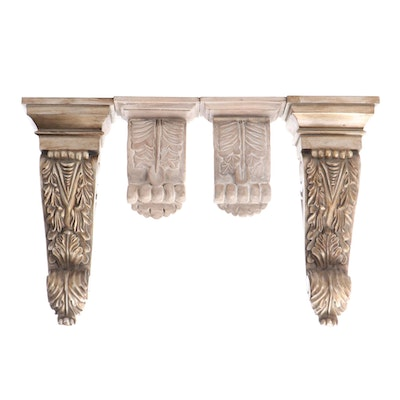 Neoclassical Style Acanthus Composite and Wood Corbels
