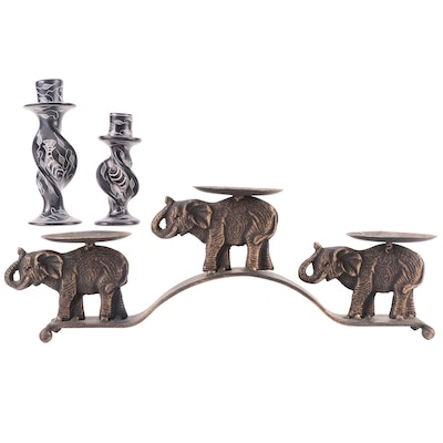 Kenyan Carved Soapstone Candlesticks and Other Metal Three-Light Candle Stand