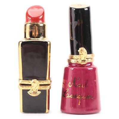 Rochard Porcelain Lipstick and Nail Polish Limoges Boxes