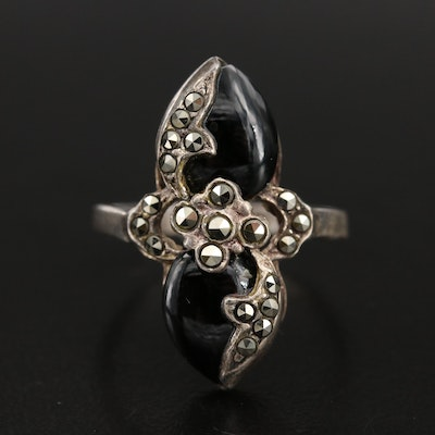 Vintage Sterling Black Onyx Ring with Marcasite Accents