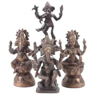 Brass Figurines Depicting Hindu Gods Shiva and Ganesha