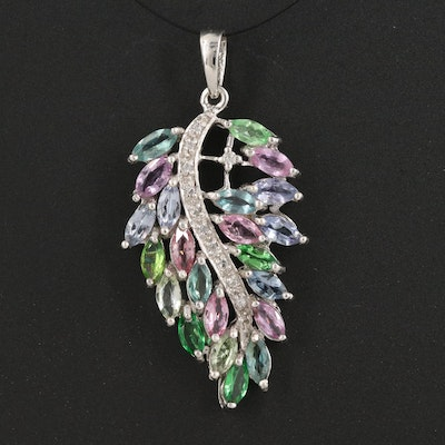 Sterling Cluster Leaf Pendant with Sapphire, Tourmaline and Zircon