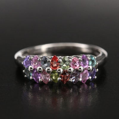 Sterling Multi-Colored Double Row Sapphire Ring