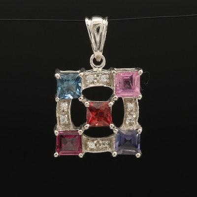 Sterling Gemstone Pendant with Sapphire, Garnet and Zircon