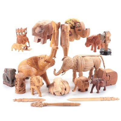 Wicker, Wooden and Other Elephant Form Figurines, Letter Openers and More