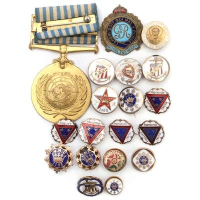 Vintage Fraternal Pinbacks, Badges, and More