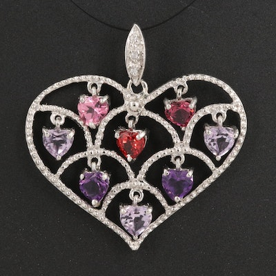 Sterling Openwork Heart Pendant with Amethyst, Sapphire and Garnet