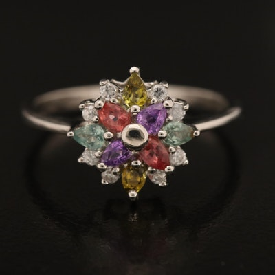 Sterling Tourmaline, Sapphire and Zircon Ring
