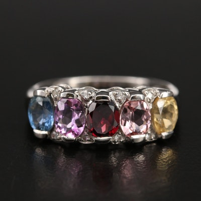Sterling Sapphire, Spinel and Zircon Ring