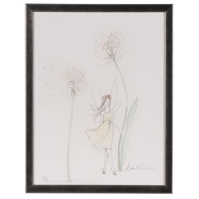 "Restoration Hardware Flower Fairy Giclée ""Dandelion"""