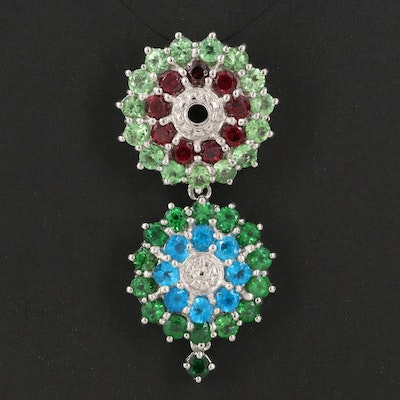 Sterling Drop Cluster Pendant with Tsavorite, Garnet and Apatite
