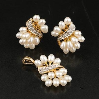 14K Pearl and Diamond Earrings and Enhancer Pendant
