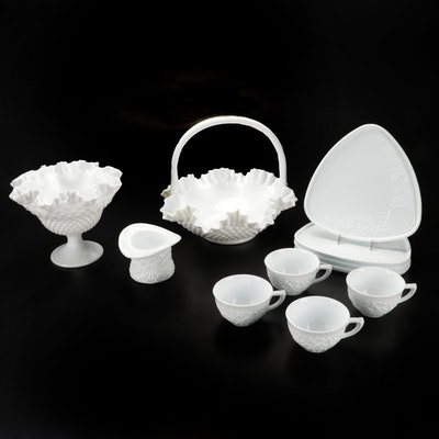 Indiana Milk Glass Cups and Plates with Compote and More