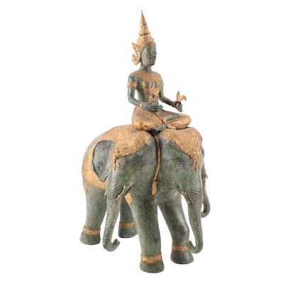 Indonesian Bronze Sculpture of Hindu God Indra Riding Erawan
