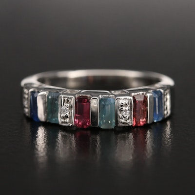 Color Change Gemstone Sterling Band with Sapphire, Alexandrite and Tourmaline