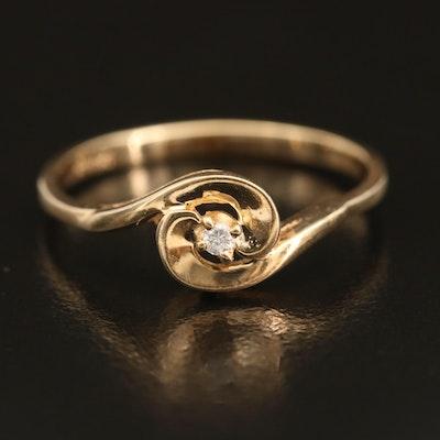 10K 0.02 CT Diamond Spiral Ring