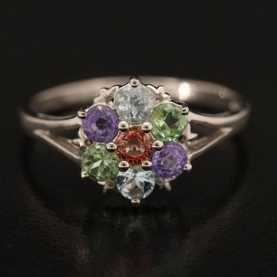 Sterling Tsavorite, Sapphire and Aquamarine Ring