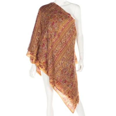 Beaded and Embroidered Foliate Patterned Dupatta Saree