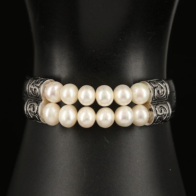 Sterling Pearl and Leather Bracelet
