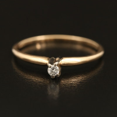 14K 0.03 CT Diamond Solitaire Ring