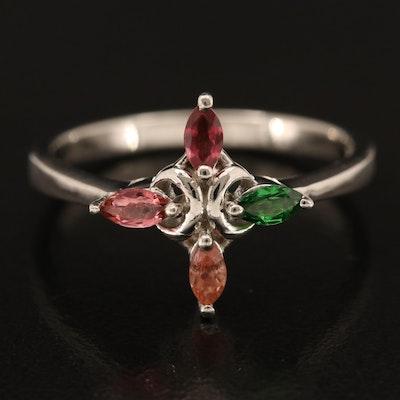 Sterling Tsavorite, Tourmaline and Sapphire Ring