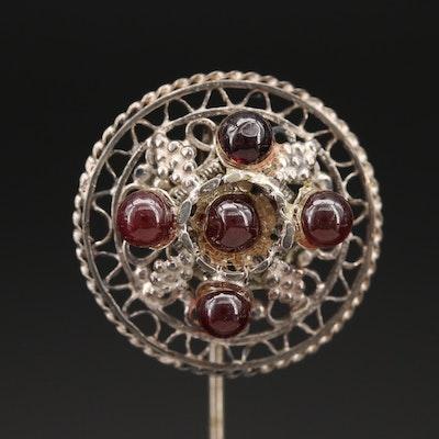 Vintage 935 Silver Rhodolite Garnet Stick Pin