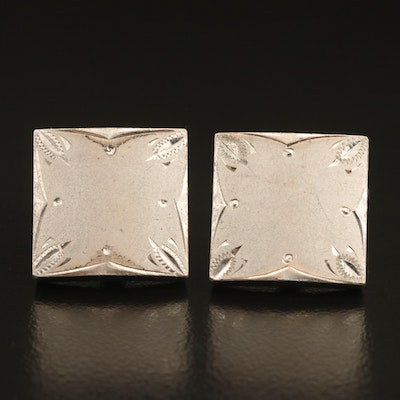 Vintage Sterling Cufflinks with Engraved Detail