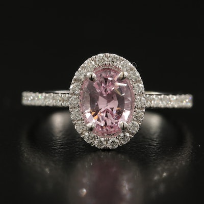 18K 1.37 CT Pink Sapphire and Diamond Halo Ring