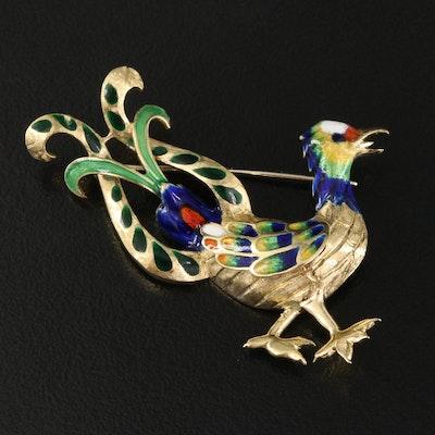 Vintage Italian 18K Champlevé Enamel Bird Brooch