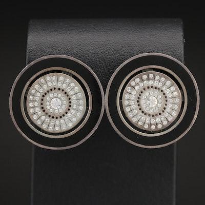 Sterling Enameled Button Earrings