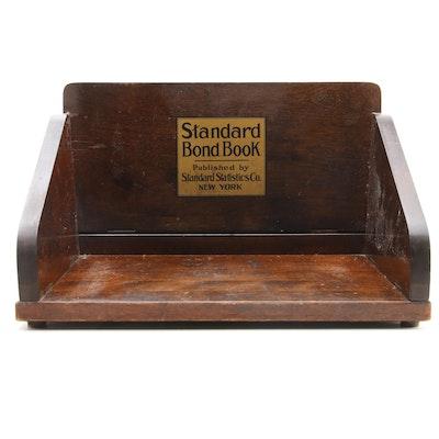 Standard Statistics Co. Standard Bond Book Wooden Book Stand