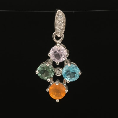Sterling Pendant Including Apatite, Zircon and Opal