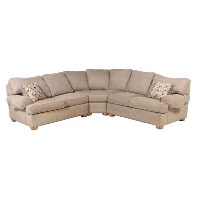 Ethan Allen Beige Upholstered Sectional Sofa