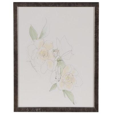 "Restoration Hardware Flower Fairy Giclée ""Gardenia"""