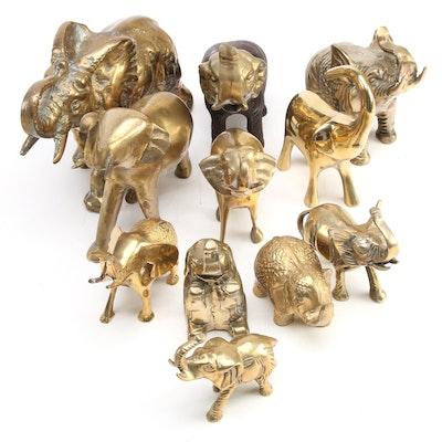 Cast Brass Elephant Figurines, Late 20th Century