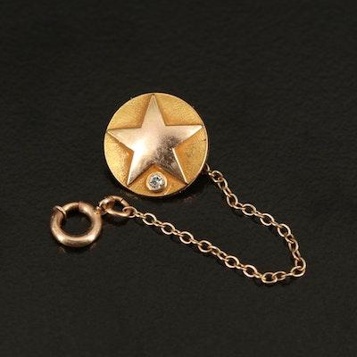 10K 0.01 CT Diamond Star Pin