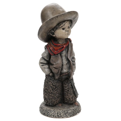 "Henri Studio ""Little Dreamers Cowboy"" Cement Figure, Late 20th to 21st Century"