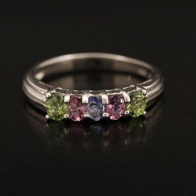 Sterling Sapphire, Tourmaline and Tanzanite Ring