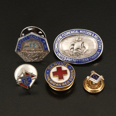 Tiffany & Co. Bronze Red Cross Pin with Other Vintage Pins and Enamel