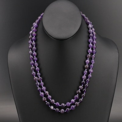 Amethyst Beaded Necklace with 14K Clasp