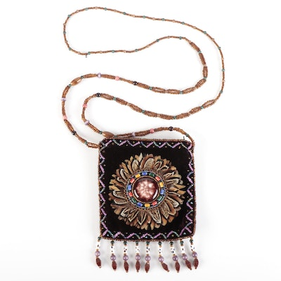 Shari Handcrafted Beaded and Feathered Velveteen Purse