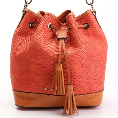 Dooney & Bourke Caldwell Bucket Bag in Python Effect and Smooth Leather