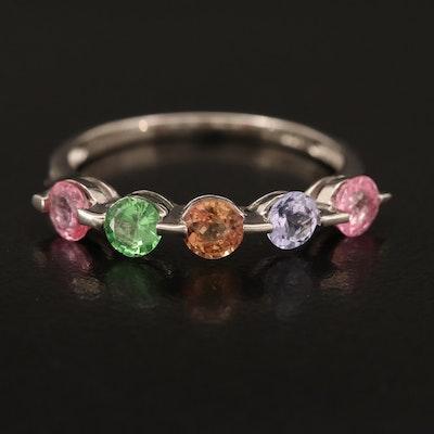 Sterling Ring Including Sapphire, Tsavorite and Tanzanite