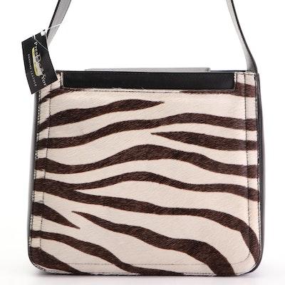 P&Y Preston & York Zebra Stripe Calf Hair and Black Leather Shoulder Bag