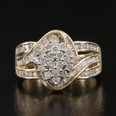 10K 1.03 CTW Diamond Cluster Ring