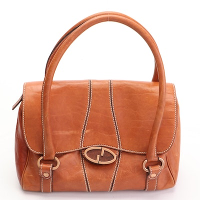 Gucci Small Handbag with Twist GG Closure in Tan Leather with Contrast Stitching