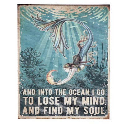 Giclée Poster of Mermaid Holding the Moon, 21st Century